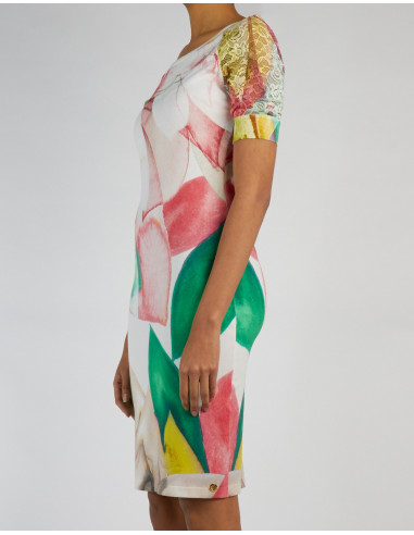 Robe imprimée avec dentelle