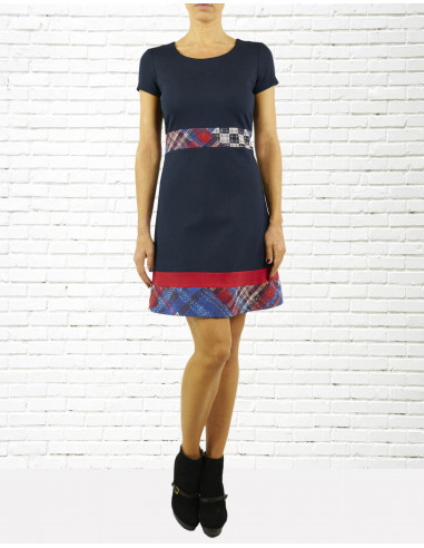 Viscose and wool patchwork dress