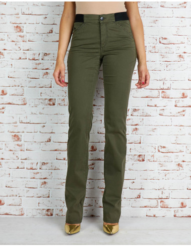 Pantalon tube avec dètails tricotés